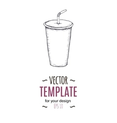 vintage cold drink drawing Hand drawn vector image vector image