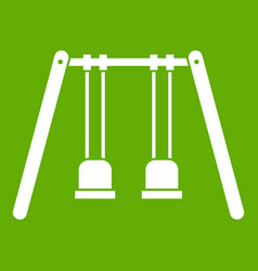 wooden swings hanging on ropes icon green vector image