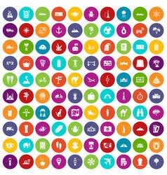 100 tourism icons set color vector