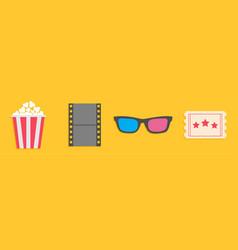 3d glasses ticket popcorn film movie cinema icon vector image