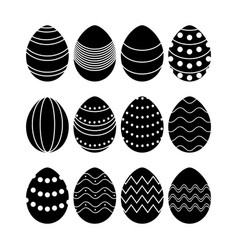 black silhouettes of easter eggs vector image