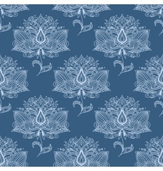 Blue paisley flowers seamless pattern vector
