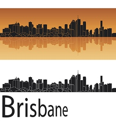 Brisbane skyline in orange background vector image