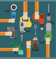 Builders tools flat modern background with hand vector