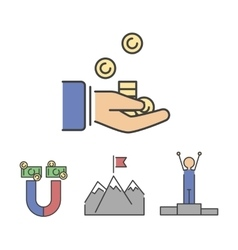 Business success money hand icons set vector