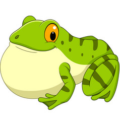 Cartoon green frog croaking vector
