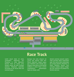 Cartoon race track with cars card poster vector