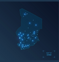Chad map with cities luminous dots - neon lights vector