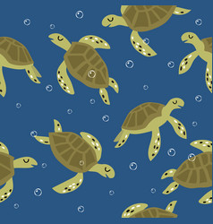 childish seamless pattern with cute turtles vector image