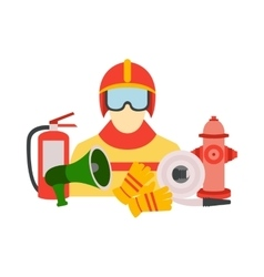 Color set collection of firefighter vector
