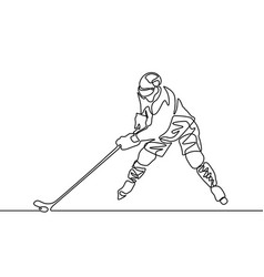 Continuous one line hockey player vector