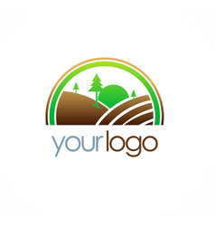 Country farm landscape logo vector