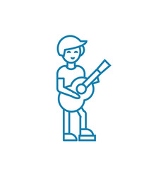 Country guitar player linear icon concept country vector