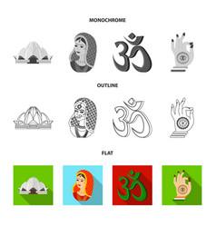 Country india flatoutlinemonochrome icons in set vector