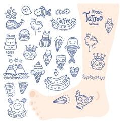 cute cartoon hand drawn doodle tattoo set vector image