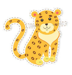 Cute jaguar cartoon flat sticker or icon vector