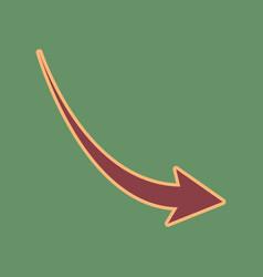 Declining arrow sign cordovan icon and vector
