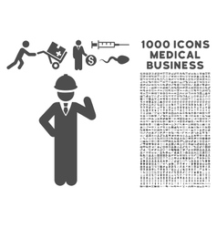 Engineer Icon with 1000 Medical Business Symbols vector