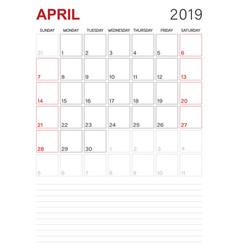 English calendar - april 2019 vector