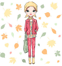 Fashion girl in autumn clothes vector