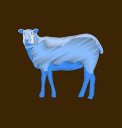 Flat shading style icon sheep vector