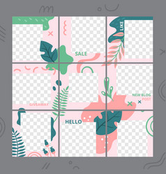 floral puzzle template social media photo frames vector image