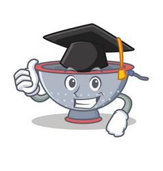 Graduation colander utensil character cartoon vector