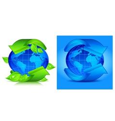 green arrows globe vector image