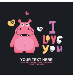 greeting card with hippo vector image