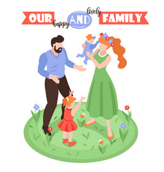 Happy lovely family background vector