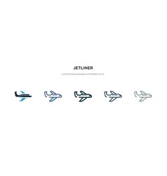 Jetliner icon in different style two colored and vector