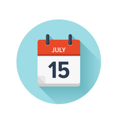 July 15 flat daily calendar icon date and vector