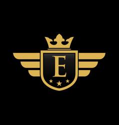 letter e shield wing vector image