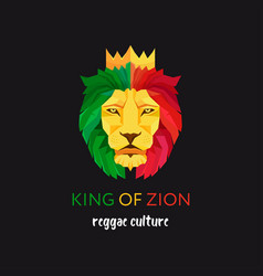 lion head with crown king zion symbol the vector image