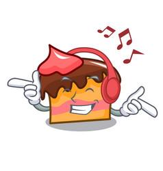 Listening music sponge cake mascot cartoon vector