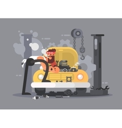 Man repair car vector image