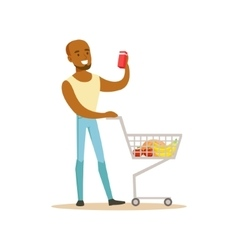 Man with cart of groceres shopping in department vector