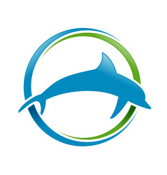 Marine dolphin blue green circular swoosh symbol vector