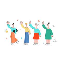 men women waving hand to colleagues set vector image