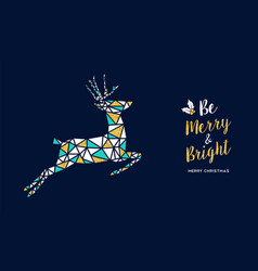 merry christmas gold glitter deer greeting card vector image