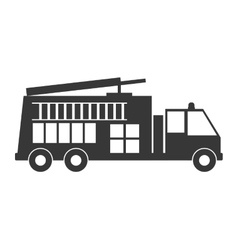 Monochrome silhouette with fire truck vector