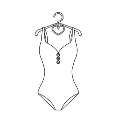 Monotone yellow swimsuit for girls bathing vector