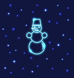 neon snowman icon in line style vector image