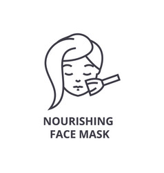 Nourishing face mask thin line icon sign symbol vector