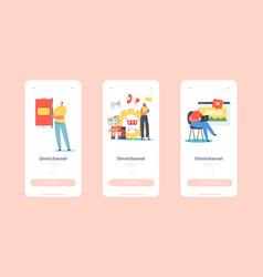 Omnichannel mobile app page onboard screen vector