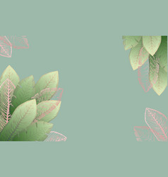 pale green frame with pink tropical leaves vector image