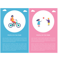 people in park girl riding bike boy play ball vector image