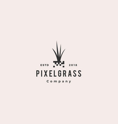 pixel grass root logo hipster retro vintage icon vector image