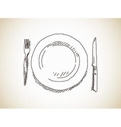 Plate knife fork vector