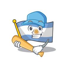 Playing baseball flag argentina cartoon shaped vector